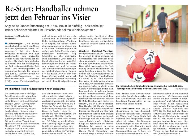 Artikel: Re-Start: Handballer nehmen jetzt den Februar ins Visier
